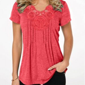 Crinkle Chest Coral Red Short Sleeve T Shirt