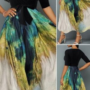 Plunging Neck Tie Dye Print Belted Maxi Dress