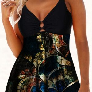 Double Strap Psychedelic Print Swimdress and Shorts